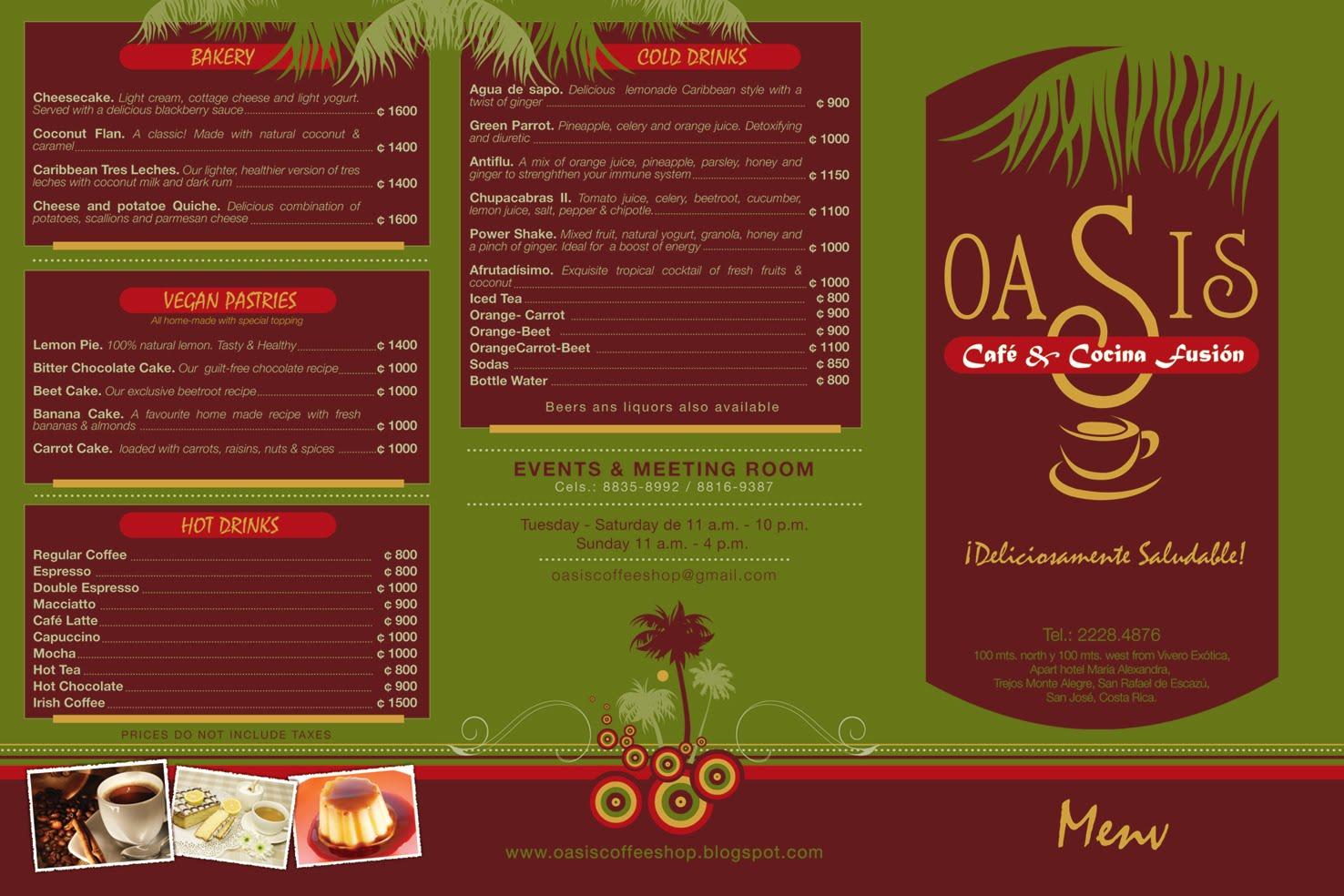 Cafe De Oasis Menu