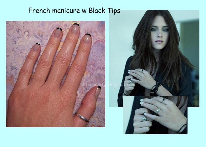 Французский маникюр с чёрными кончиками