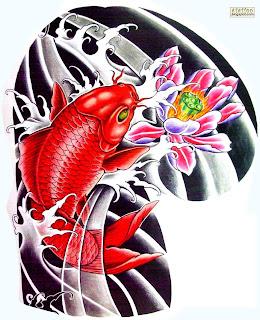 Carpa vermelha com Flor de Lótus