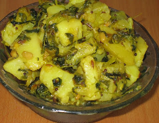 Fenugreek Potato Curry , Aloo Menthi Aakula Kura