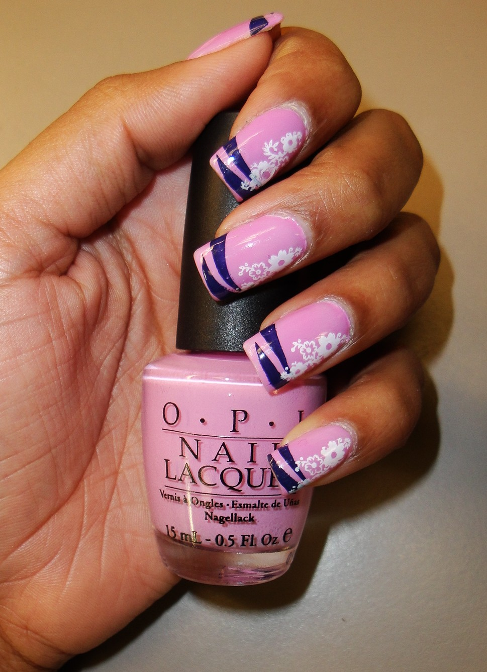 The Fancy Face: \'Flowers and Stripes\' Nails