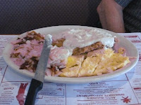 Click to enlarge - Chicken fried steak and an omelet.