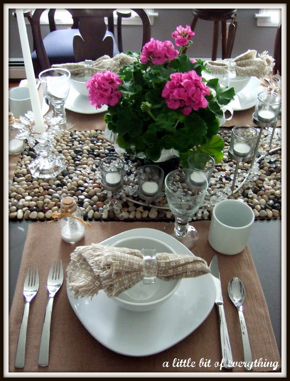 Table Setting Birthday Dinner in Beige and