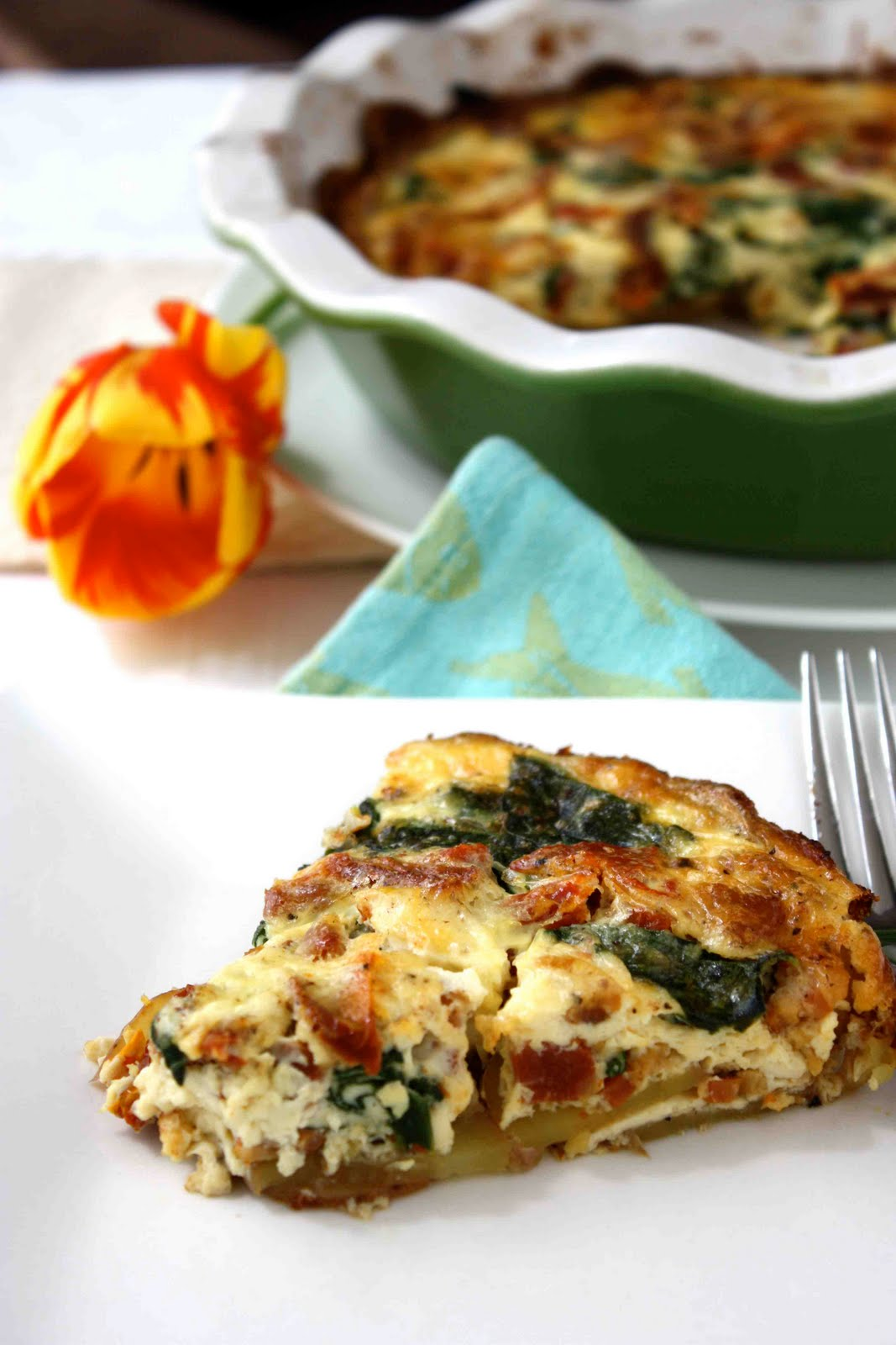 Tomato, Spinach, And Dill Quiche With A Shredded Potato Crust Recipe ...