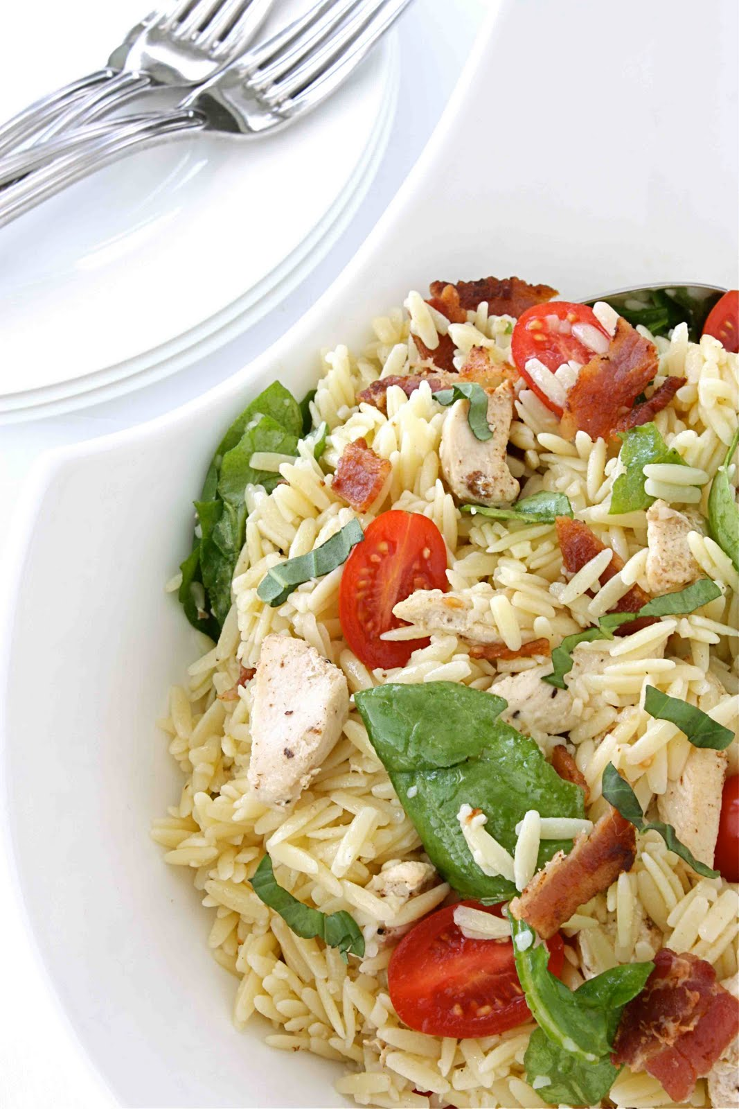 Chicken BLT (or Bacon, Spinach & Tomato) Pasta Salad Recipe - Cookin ...