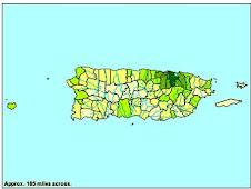Mapa de Puerto Rico personas por millas cuadradas