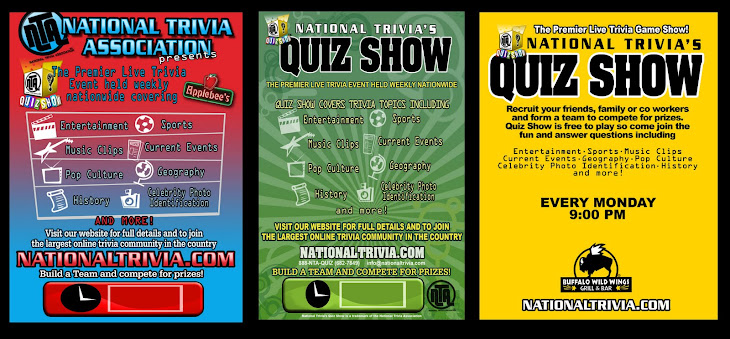 NATIONAL TRIVIA POSTERS and FLYERS