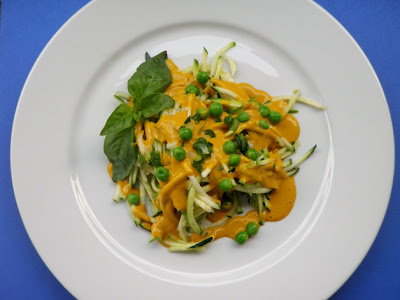Raw Zucchini Pasta with Carrot-Cashew Creme Sauce