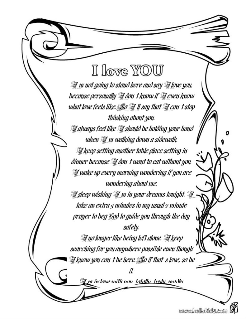 Free Coloring Pages Of That Say I Love You Daddy