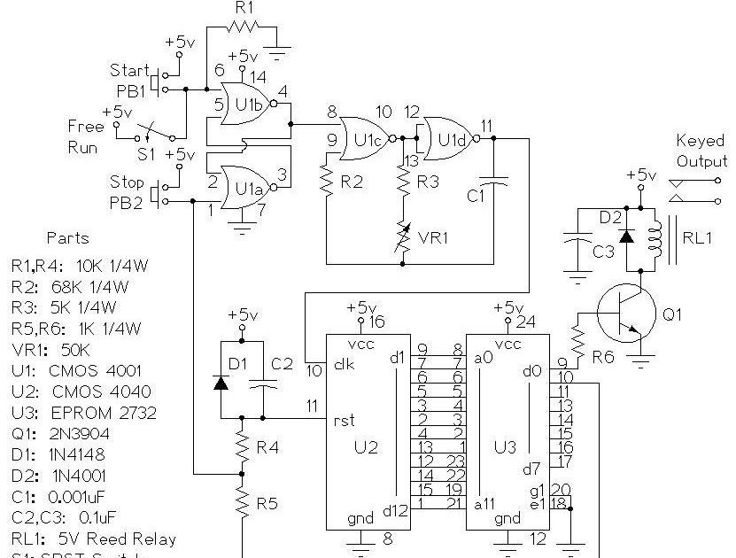 electronics circuits  morse code beacon keyer
