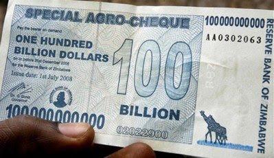 Nota de 100 bilhões de dólares zimbabuanos