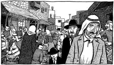 Cena da obra Palestina, de Joe Sacco, com árabes e judeus em mercado