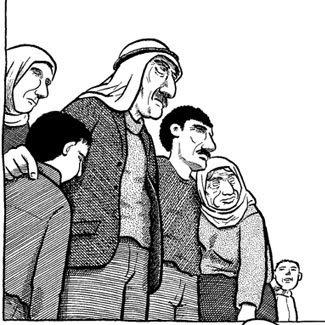 Família palestina em cena da obra de Joe Sacco