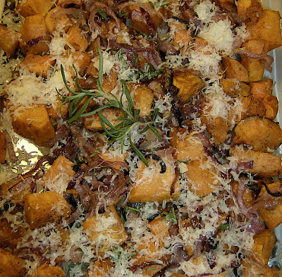 Roasted Sweet Potatoes and Onions with Rosemary and Parmesan | Ms. enPlace