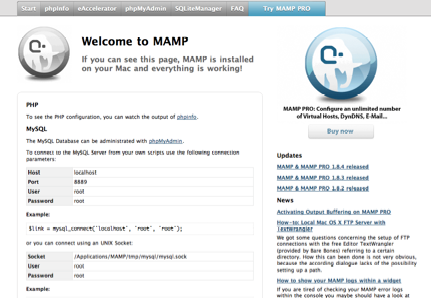 MAMP StartPage Browser