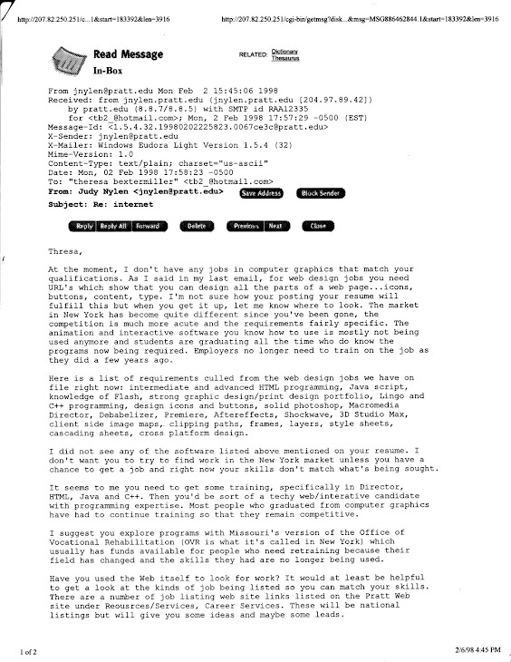 E-mail from Pratt Institute, Feb. 2, 1998, regarding jobs in Computer Graphics