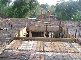 picture shows flat roof after steel reinforcement work ready for