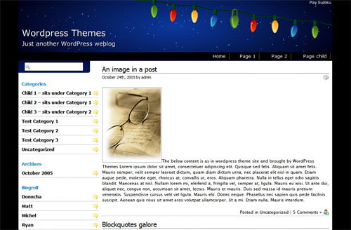 Snowy Christmas theme is a two-columns, fixed width theme.