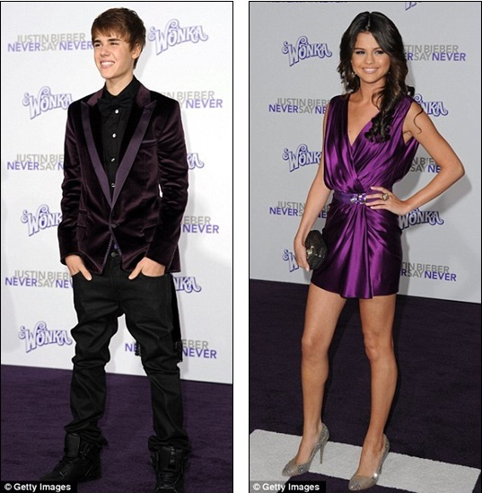 Matching colours: Justin Bieber and girlfriend Selena Gomez colour