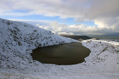 Devils Punchbowl corrie lake near the summit of Mangerton mountain, county Kerry