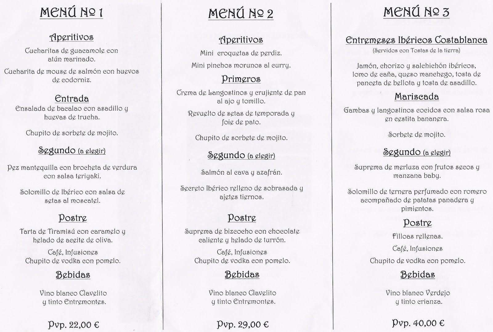 Charlas de taberna cena de navidad elecci n de menu for Menu de cenas