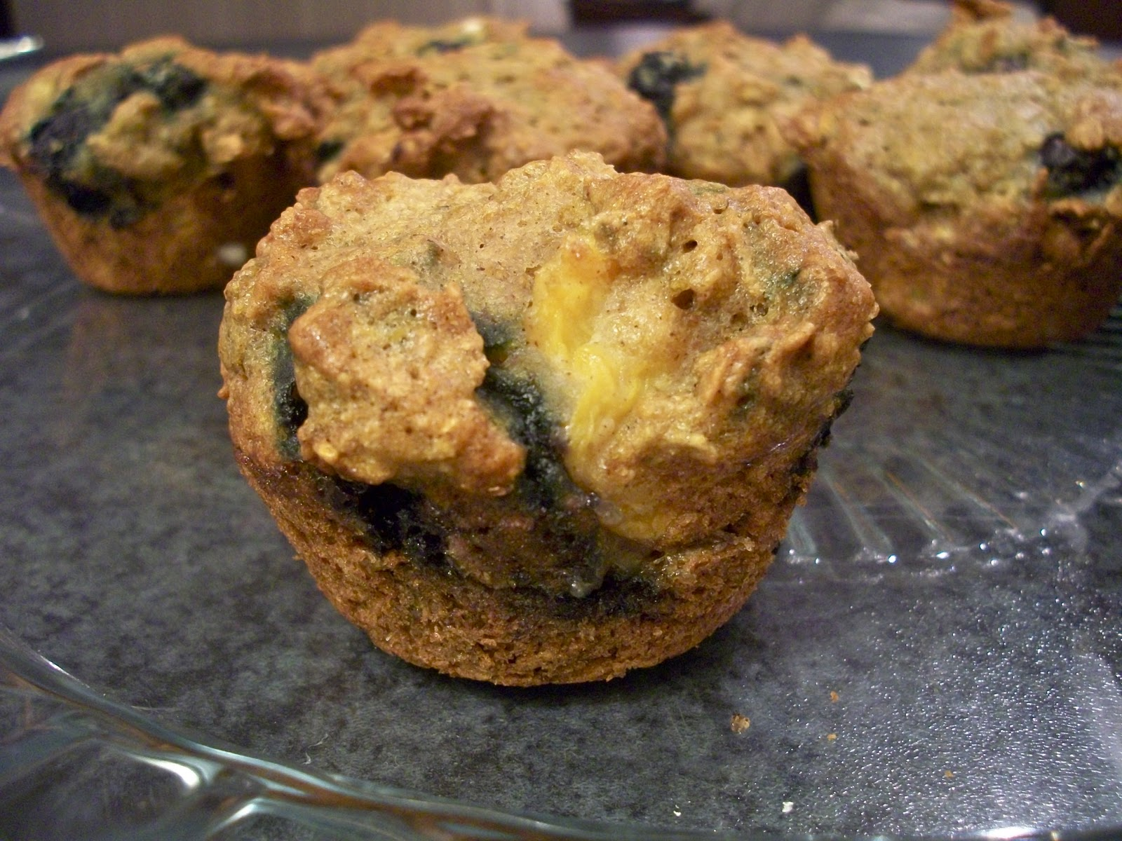 Brooke Bakes : Blueberry Peach Bran Muffins