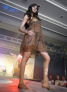 Cute bare feet model on the ramp