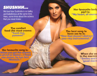 Sushmita Sen sitting crosslegged