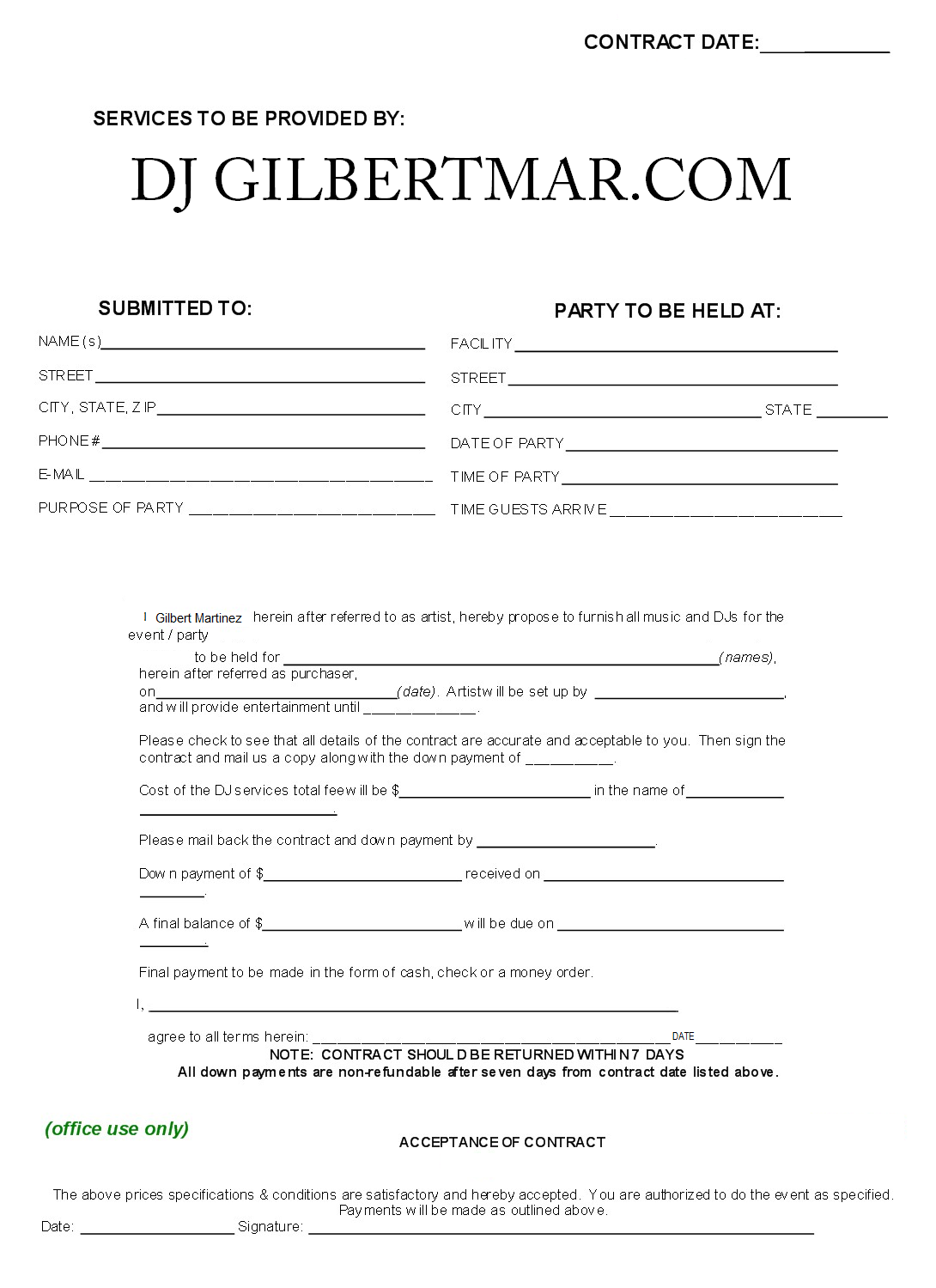 Sample Dj Contract Agreement Free Printable Documents