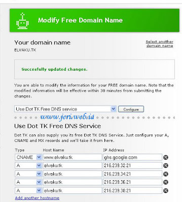 Register and setup domain Free tk for blogger