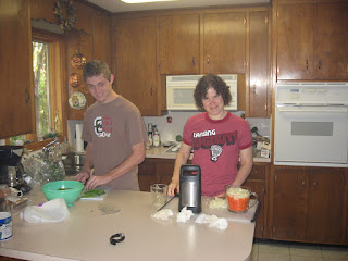 Katie and Eric cooking Thanksgiving dinner