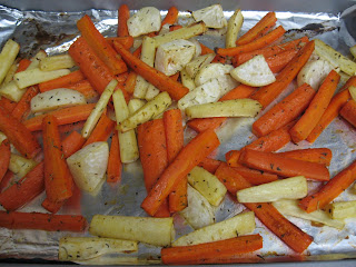roasted carrots, parsnips, and turnips
