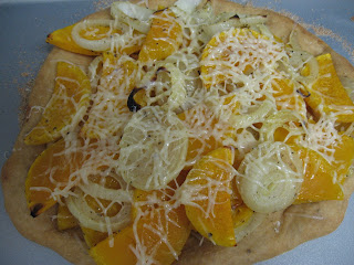 Butternut squash and onion pizza, adapted from Vegetarian Planet by Didi Emmons