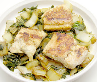 braised bok choy with seared salmon