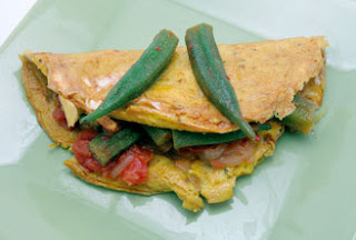 Stewed okra and tomato omelets