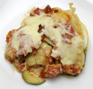 recipe for lasagna with ground chicken, summer squash, and mixed greens