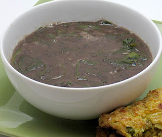 black bean and spinach soup, adapted from The New York Times