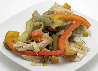 chicken breasts with leeks and peppers