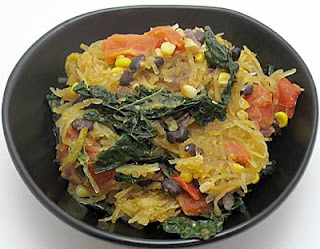 recipe for spaghetti squash with black beans, corn, and kale