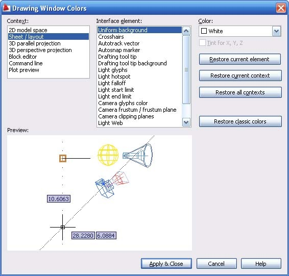 how to change background colour autocad