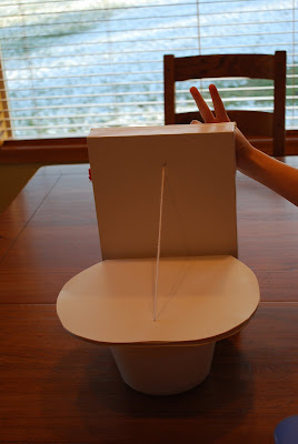 then we measured cut taped and created the perfect 8 year old boy valentine box the toilet complete with lifting lid