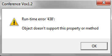 Vox1.2 Run-time Error 438: Object doesn\u0027t support this property or