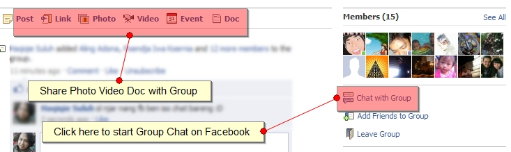 Facebook Chat Group and Room Conference