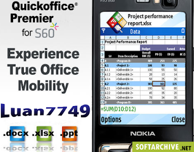 QuickOffice Premier v6.0 s60v3 Symbian OS9.1 enables remote file access and