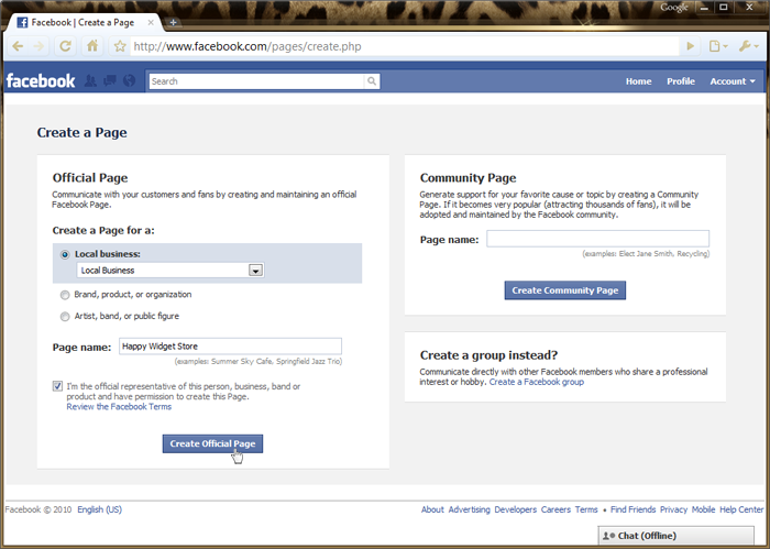 how to create a public page on facebook