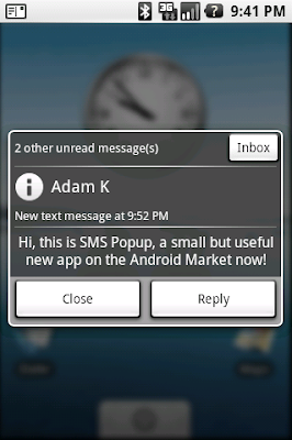 SMS Popup Screenshot