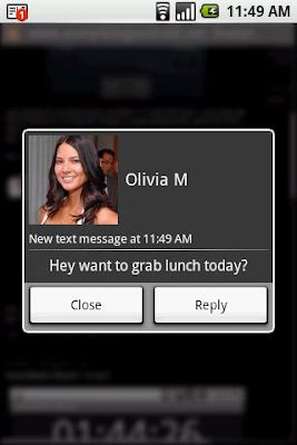 SMS Popup Screenshot