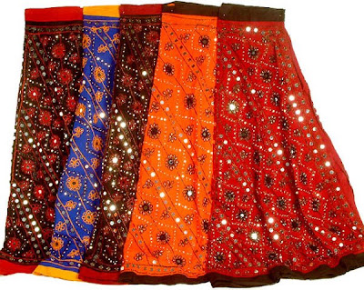 lot of five ghagra skirts with large sequins ys89 Long skirts