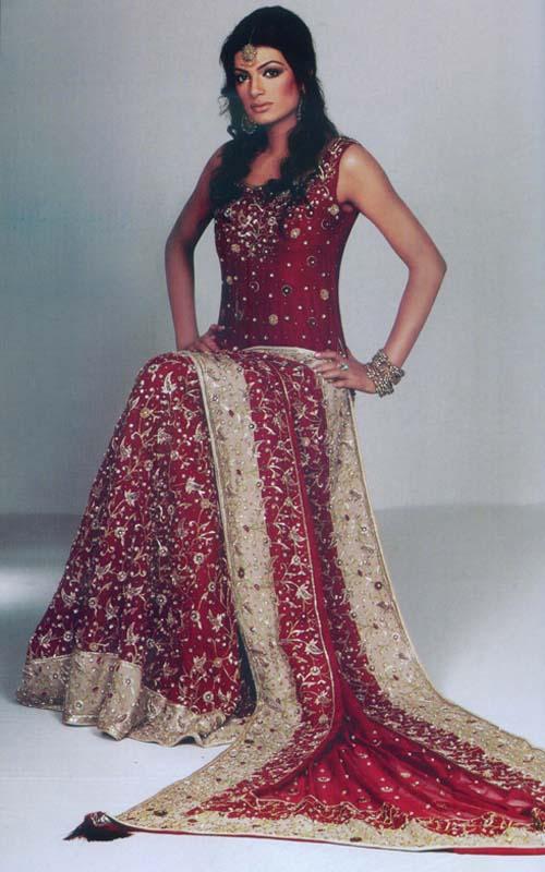 Red+Lehnga Pakistani Bridal Dresses