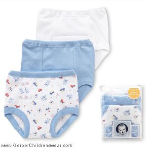 ... packs of Gerber Training Underwear and Gerber Plastic Pants marked down.